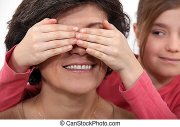 yeux, grandmères, petite-fille, couverture