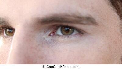 yeux, homme, haut, caucasien, fin