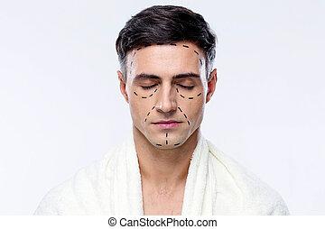yeux, lignes, marqué, plastique, fermé, chirurgie, homme