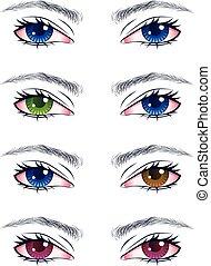 yeux, mâle, coloré