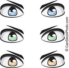 yeux, mâle, couleurs, différent