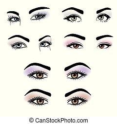 yeux, maquillage, couleurs, différent, femme