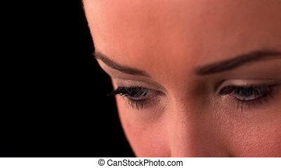 yeux, noir, haut, womans, fin, b