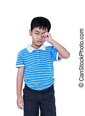 yeux, pain., isolé, arrière-plan., souffrance, eyestrain., enfant asiatique, blanc