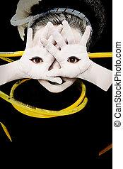 yeux, paumes, mains, étranger, enfant, girl