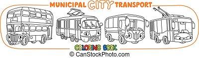 yeux, petit, transport, ville, coloration, rigolote, livre