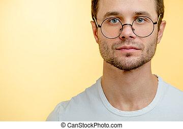 yeux, photo, haut, tondu, vert, beau, fin, mâle, arrondissez lunettes