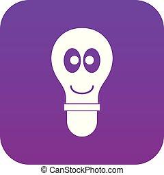 yeux, pourpre, lumière, numérique, ampoule, sourire, icône