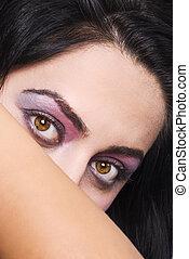yeux roses, femme, grimer, violet
