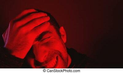 yeux, sien, douleur, fermé, tête, souffrance, frottements, homme