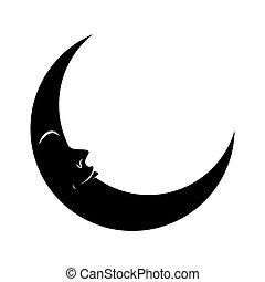 yeux, silhouette, symbole, lune, vecteur, croissant, icône, ...