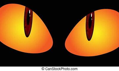 yeux sombres, halloween, monstre