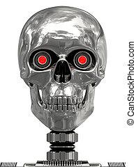 yeux, tête, cyborg, rouges, métallique