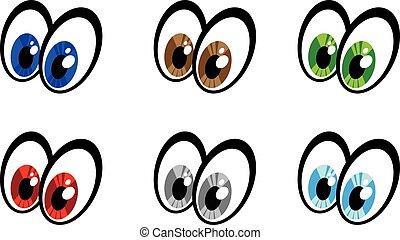 yeux, vecteur, dessin animé