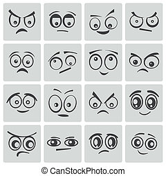 yeux, vecteur, noir, dessin animé, ensemble
