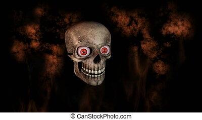 yeux, vers, fumée, crâne, brûler, humain, appareil photo, en mouvement, rire, fond