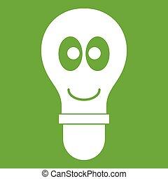 yeux, vert clair, ampoule, sourire, icône