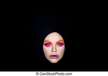 yeux, womans, clair, arrière-plan noir, maquillage, voile
