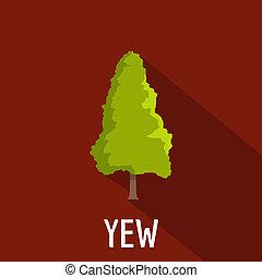 Yew tree icon, flat style