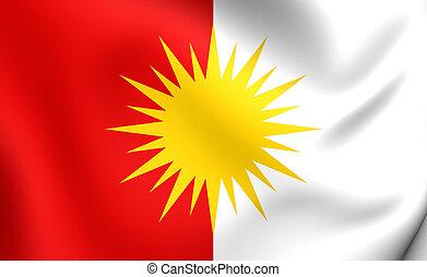 Yezidi Flag. Close Up.