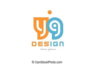 yg y g orange blue alphabet letter logo combination -...