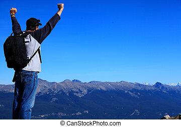 yhiker, képben látható, hegylánc, érzés, öröm, és, diadal