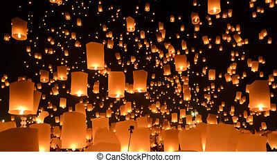 yi, straatfeest, hemel, peng, lantaarns, of