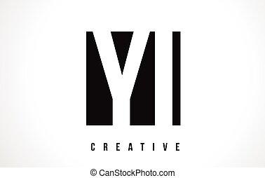 YI Y I White Letter Logo Design with Black Square.