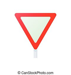 Yield triangular road sign icon, cartoon style