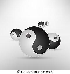 yin, aislado, ilustración, señal, vector, blanco, resplandor, yang