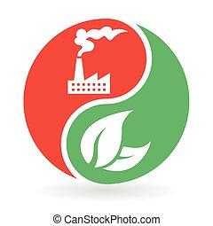 yin, -, ambiente, vs, yang, inquinamento