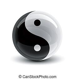 Yin and Yang ball - Yin and Yang symbol on a glossy ball