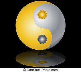 yin and yang gold and silver