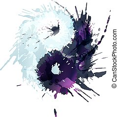 Yin and Yang made of colorful splashes