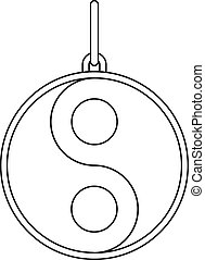 Yin and yang sign icon, outline style