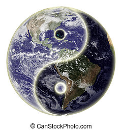 Yin and yang symbol and globe or earth. Earth picture credit to: