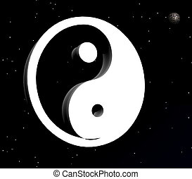 Yin and yang symbol in the night