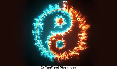 Yin and Yang symbol on red and blue fire. Concepts of: the ...