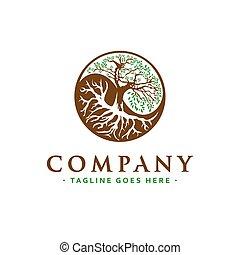 yin and yang tree logo design
