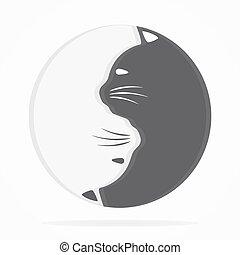 yin, chats, harmonie, logo, équilibre, yang