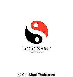 yin, icône, logo, vecteur, yang, gabarit