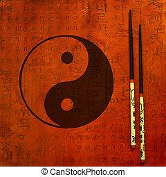 yin, ilustração, yang