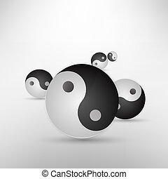 yin, isolé, illustration, signe, vecteur, blanc, scintillement, yang