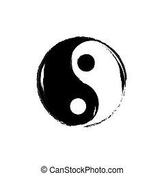yin, jelkép., vector., yang