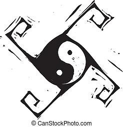 yin, kruis, yang
