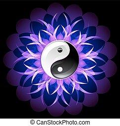 yin, lotus, clair, yang