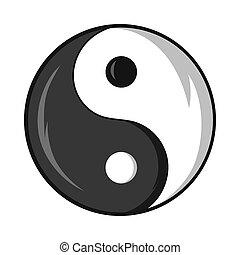 yin och yang symbol, ikon, tecknad film, stil