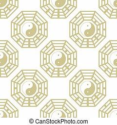 yin, patrón, bagua, trigrams, yang, seamless, símbolo