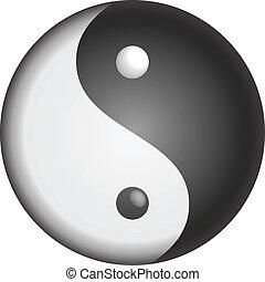 yin, símbolo, vetorial, yang
