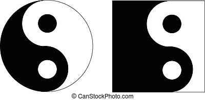 yin, símbolo, yan